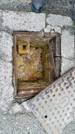Cafe Saffron blocked sewer