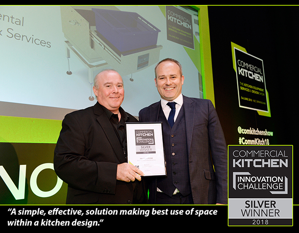 "Gareth O'Neill - #EPAS presented with the 'Innovation Challenge' Silver Award  @comkitchenshow, judges felt the #FilterShield FS1500 was ""a simple, effective, solution making best use of space within a kitchen design"" #CommKitch18 #GreaseShield"