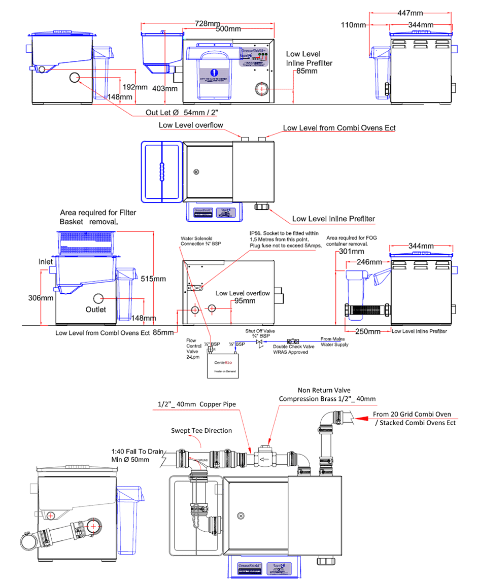 Greaseshield Gs1000 Ll Pf Diagram 2 Under The Sink Grease Trap